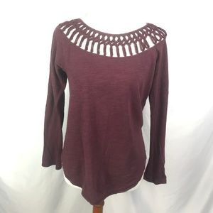 Lucky Brand Knit Long Sleeve Top Crochet Neckline
